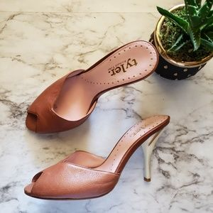 Richard Tyler Brown Leather Mules Nude Marble Sz 7